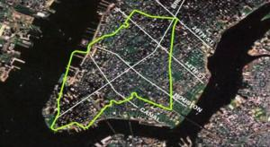Freshkills Superimposed on Lower Manhattan would stretch from South Ferry to 26th St.